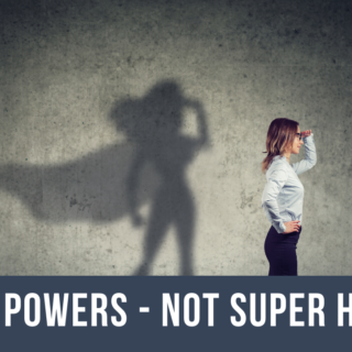 Woman with super hero shadow